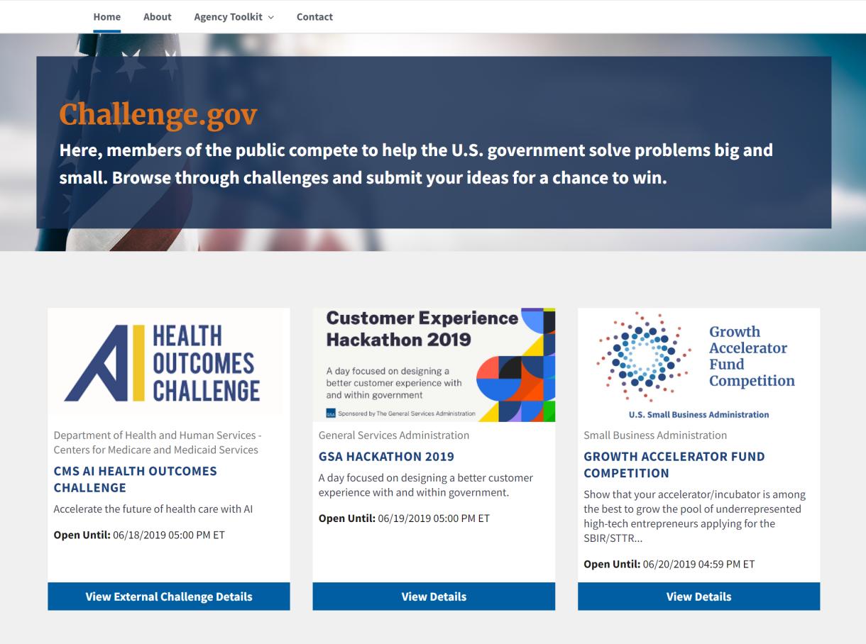 www.challenge.gov homepage